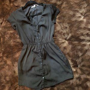 Black button down silk dress.